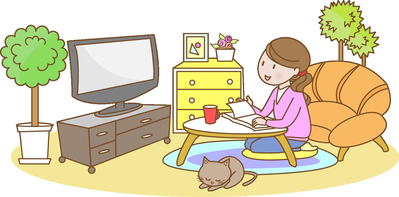 家でテレビを見る女性