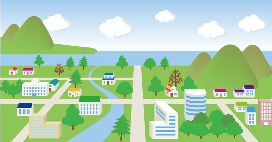 街のイラストマップ