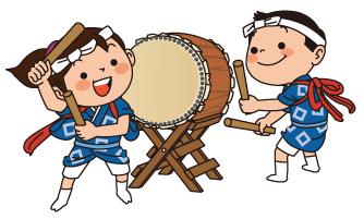 お祭りで太鼓をたたく人