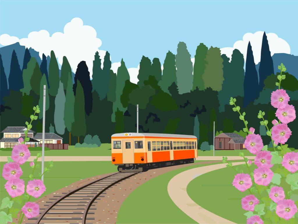 田舎を走る電車