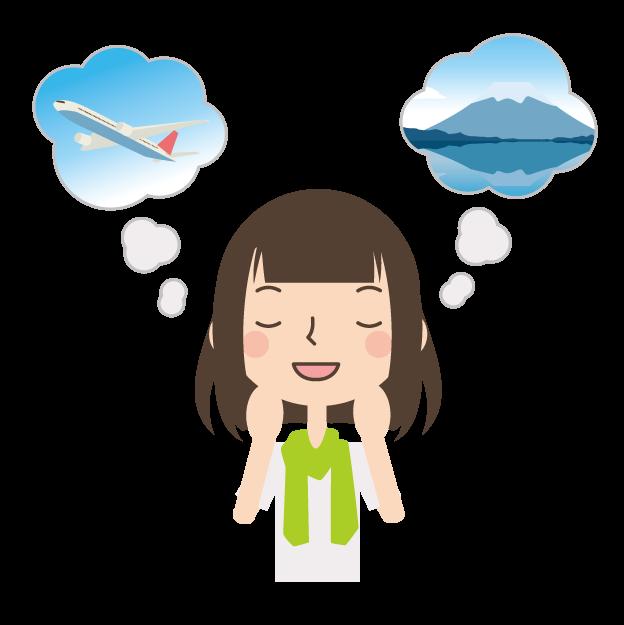 旅のことを考える女性