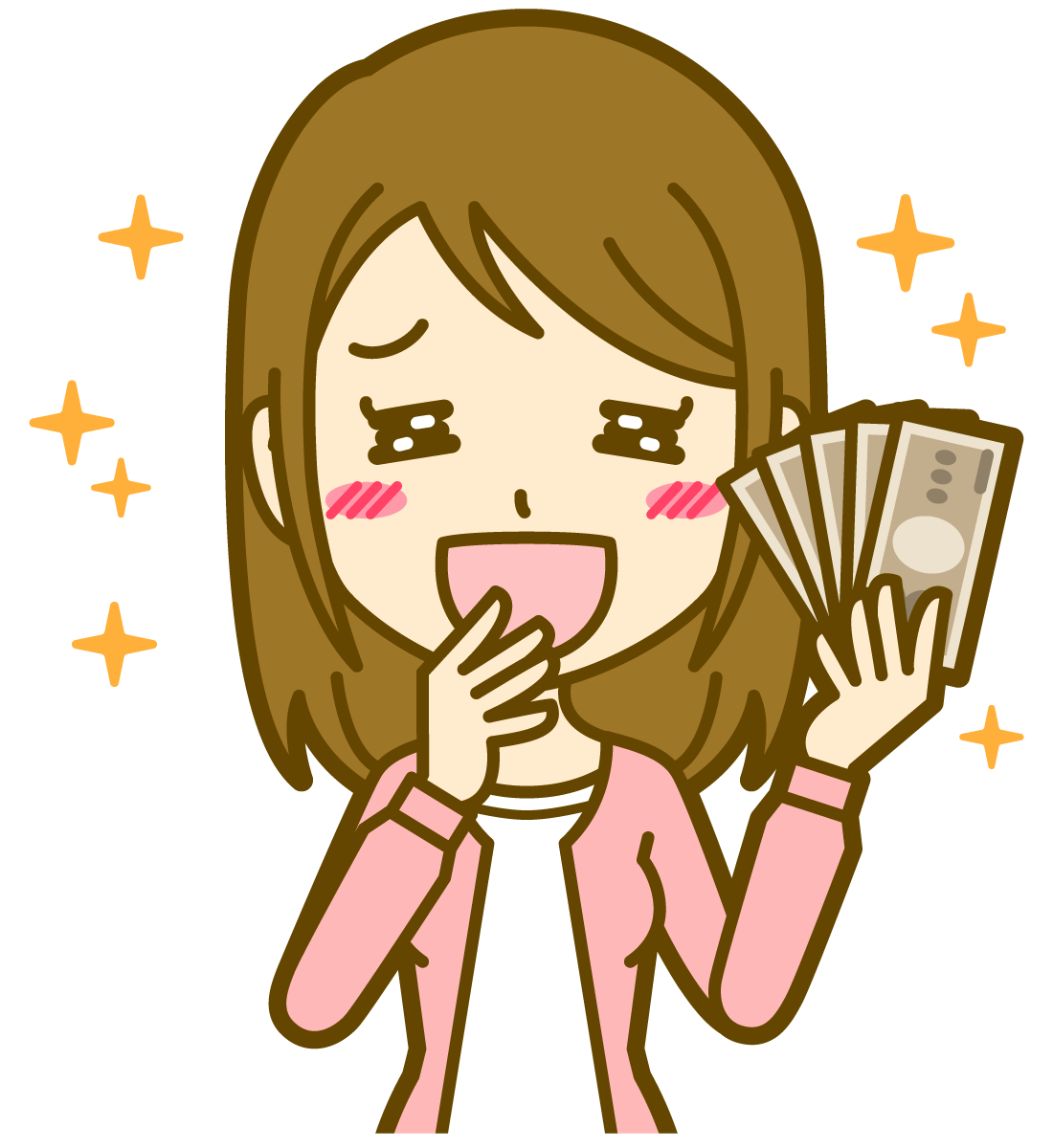 お金に喜ぶ女性