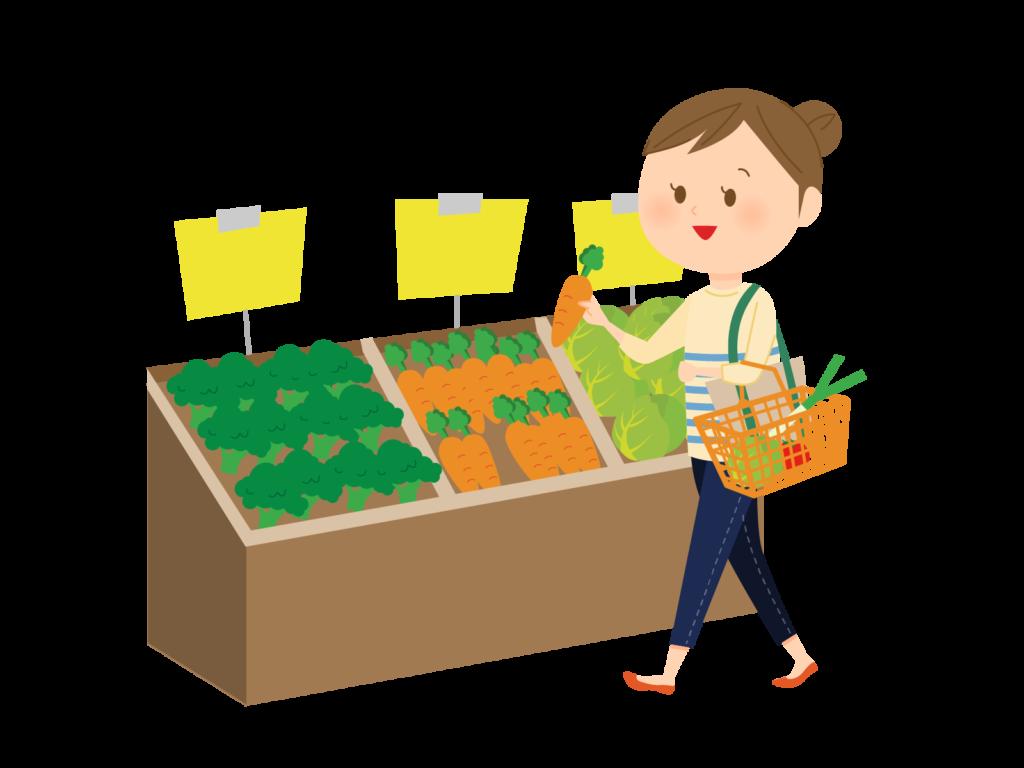 野菜を買い物する女性